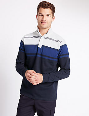 Tailored Fit Pure Cotton Striped Rugby Top