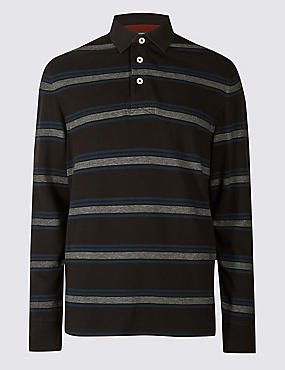 Pure Cotton Striped Rugby Top, BLACK, catlanding