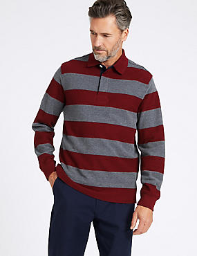 Pure Cotton Striped Rugby Top, CLARET, catlanding