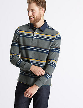 Pure Cotton Striped Rugby Top, CHARCOAL MIX, catlanding