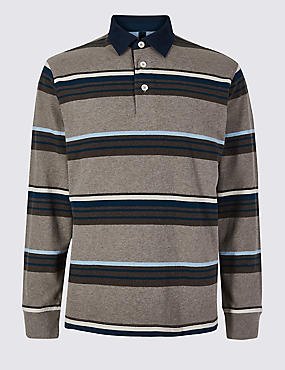 Pure Cotton Striped Rugby Top, NATURAL MIX, catlanding