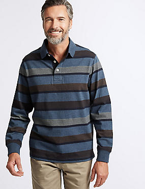 Pure Cotton Striped Rugby Top, DENIM MIX, catlanding