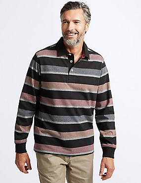 Slim Fit Pure Cotton Striped Rugby Top, BLACK MIX, catlanding