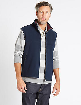 Textured Zipped Through Fleece Gilet