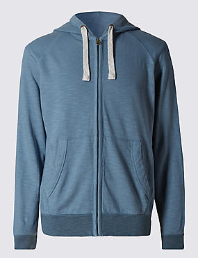 Pure Cotton Tailored Fit Lightweight Hooded Top