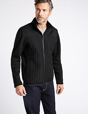 Textured Zipped Through Fleece Jacket