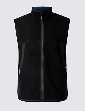 Textured Zip Through Gilet, BLACK, catlanding