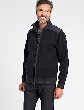 Cotton Blend Textured Fleece Jacket with Stormwear™ , NAVY, catlanding