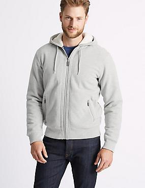 Fleece Lined Hoodie with Stormwear™ , GREY, catlanding