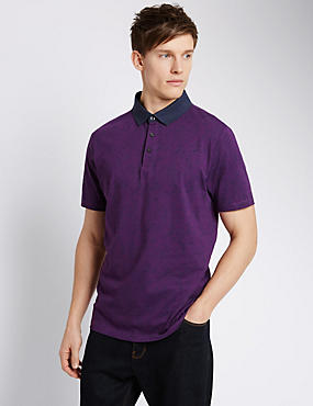 Pure Cotton Tailored Fit Paisley Print Polo Shirt