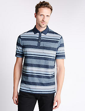 Cotton Rich Stripped Polo Shirt