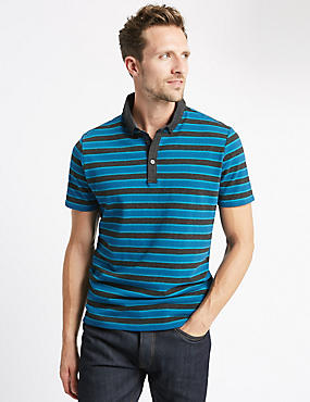 Pure Cotton Bubble Striped Slim Fit Polo Shirt