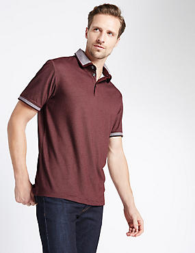 Modal Blend Striped Polo Shirt