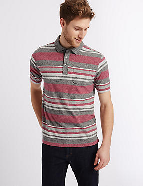 Big & Tall Pure Cotton Striped Polo Shirt
