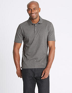 Pure Cotton Checked Polo Shirt