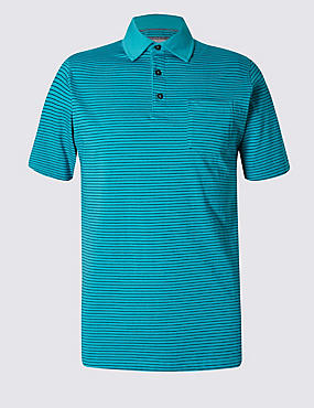 Pure Cotton Slim Fit Striped Polo Shirt