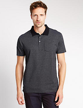 Pure Cotton Tailored Fit Textured Polo Shirt