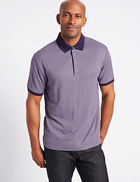 Modal Rich Textured Polo Shirt, PURPLE MIX, catlanding
