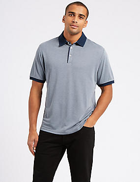 Modal Rich Textured Polo Shirt, BLUE MIX, catlanding