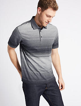 Pure Cotton Striped Polo Shirt, CHARCOAL MIX, catlanding
