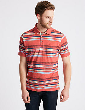 Striped Polo Shirt, CORAL MIX, catlanding