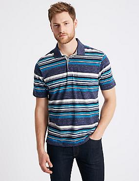 Striped Polo Shirt, NAVY MIX, catlanding