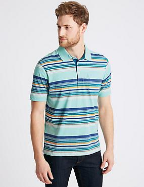 Striped Polo Shirt, AQUA MIX, catlanding