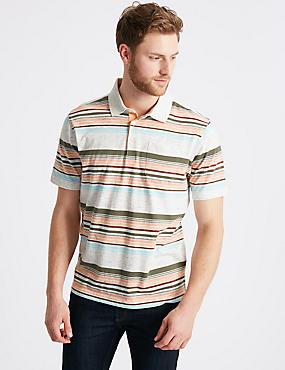 Striped Polo Shirt, ECRU MIX, catlanding