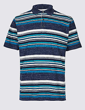 Slim Fit Striped Polo Shirt, NAVY MIX, catlanding