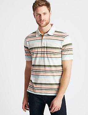 Slim Fit Striped Polo Shirt, ECRU MIX, catlanding