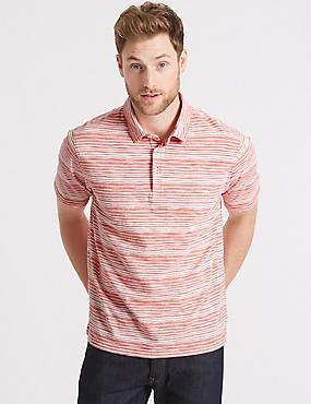 Pure Cotton Striped Polo Shirt, CORAL MIX, catlanding