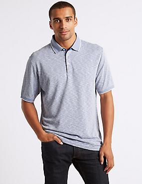 Modal Rich Textured Polo Shirt, BLUE MIX, catlanding