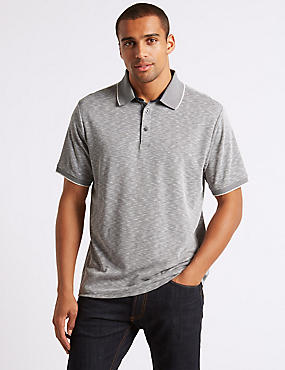 Modal Rich Textured Polo Shirt, NAVY MIX, catlanding