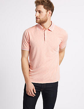 Modal Rich Textured Polo Shirt, ORANGE MIX, catlanding