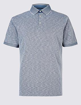 Slim Fit Modal Rich Textured Polo Shirt, BLUE MIX, catlanding