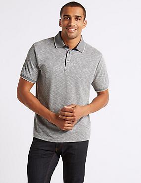 Slim Fit Modal Rich Textured Polo Shirt, NAVY MIX, catlanding