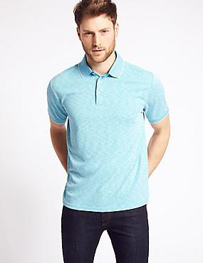 Slim Fit Modal Rich Textured Polo Shirt, AQUA MIX, catlanding