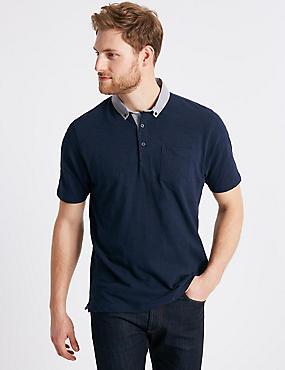 Cotton Rich Polo Shirt, NAVY, catlanding