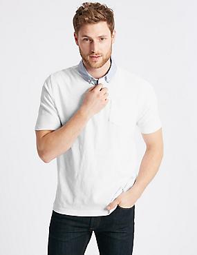 Cotton Rich Polo Shirt, WHITE, catlanding