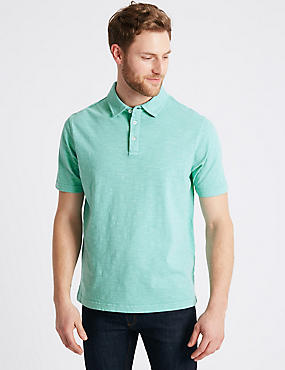 Pure Cotton Textured Authentic Polo Shirt, AQUA, catlanding