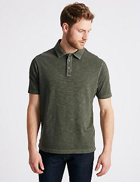 Pure Cotton Textured Authentic Polo Shirt, MEDIUM KHAKI, catlanding