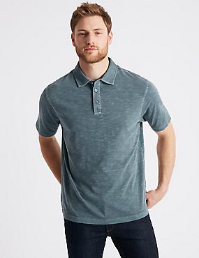 Pure Cotton Textured Authentic Polo Shirt, DARK BLUE DENIM, catlanding
