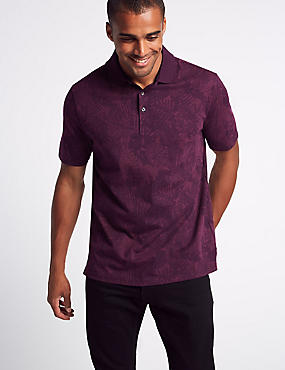 Pure Cotton Floral Print Polo Shirt, PURPLE MIX, catlanding