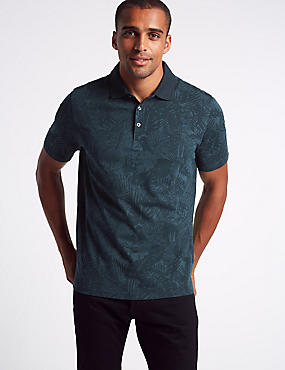 Pure Cotton Floral Print Polo Shirt, NAVY MIX, catlanding