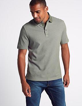 Pure Cotton Textured Polo Shirt, KHAKI, catlanding