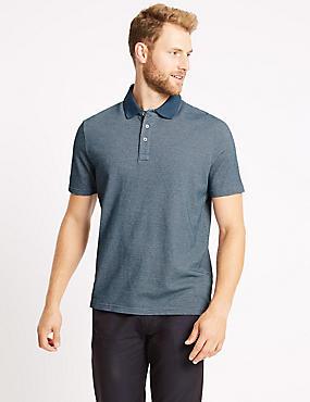Pure Cotton Textured Polo Shirt, DENIM MIX, catlanding