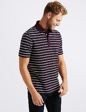 Pure Cotton Striped Polo Shirt, PURPLE MIX, catlanding