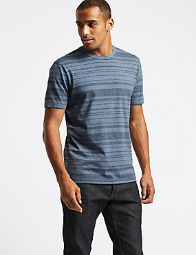 Slim Fit Pure Cotton Striped T-Shirt, NAVY MARL, catlanding