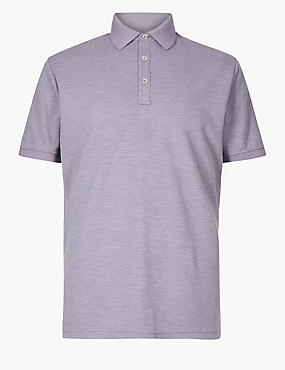 Modal Rich Striped Polo Shirt, LILAC, catlanding
