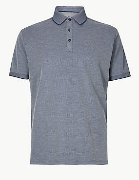 Modal Rich Striped Polo Shirt, INDIGO, catlanding